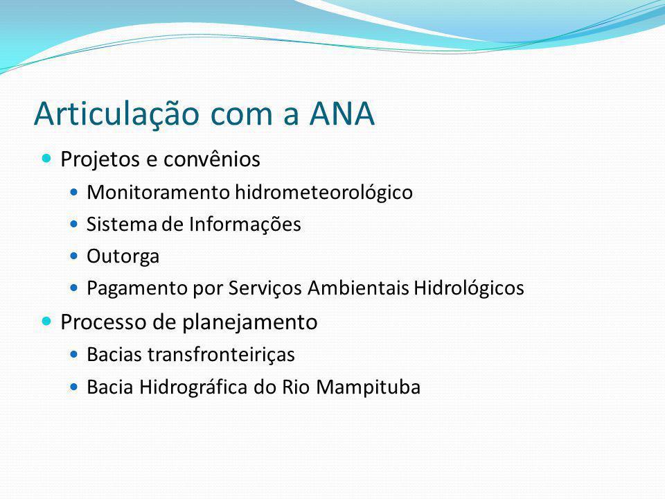 Articulação com a ANA Projetos e convênios Processo de planejamento