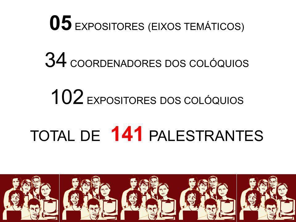 05 EXPOSITORES (EIXOS TEMÁTICOS) 34 COORDENADORES DOS COLÓQUIOS