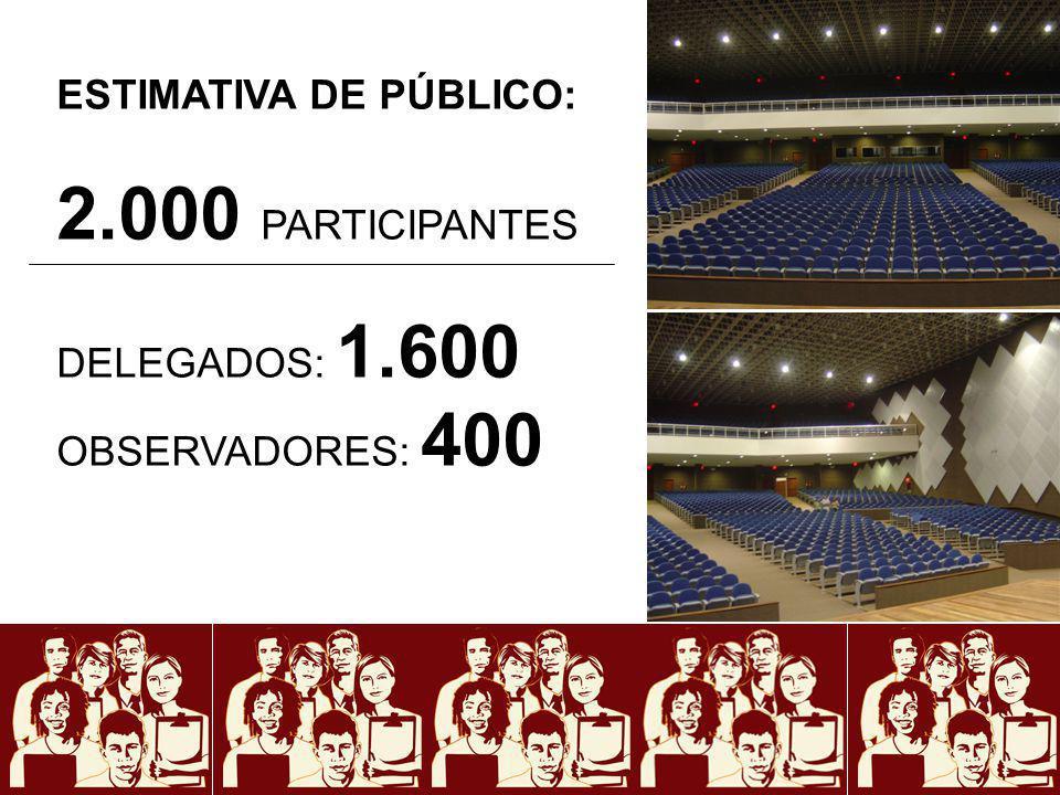 2.000 PARTICIPANTES ESTIMATIVA DE PÚBLICO: DELEGADOS: 1.600