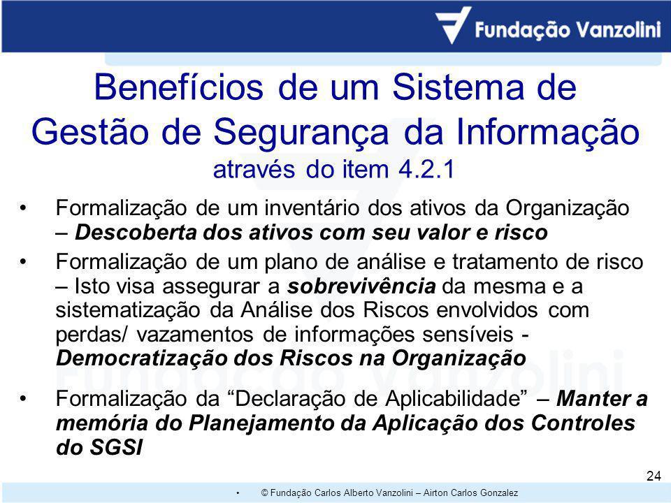 Benefícios de um Sistema de Gestão de Segurança da Informação através do item 4.2.1