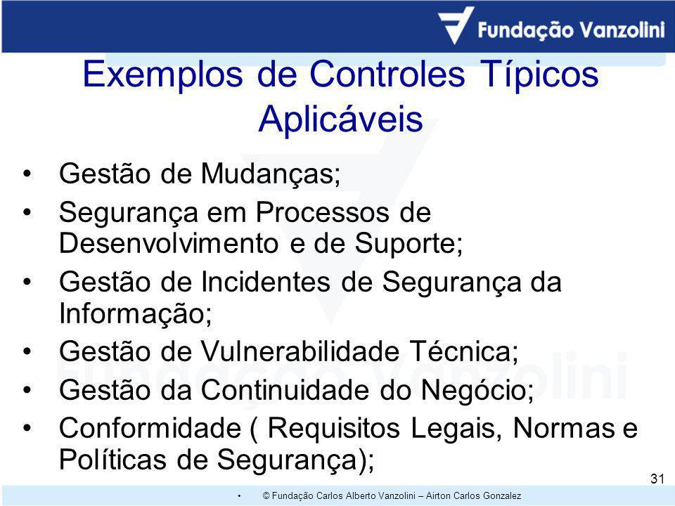 Exemplos de Controles Típicos Aplicáveis
