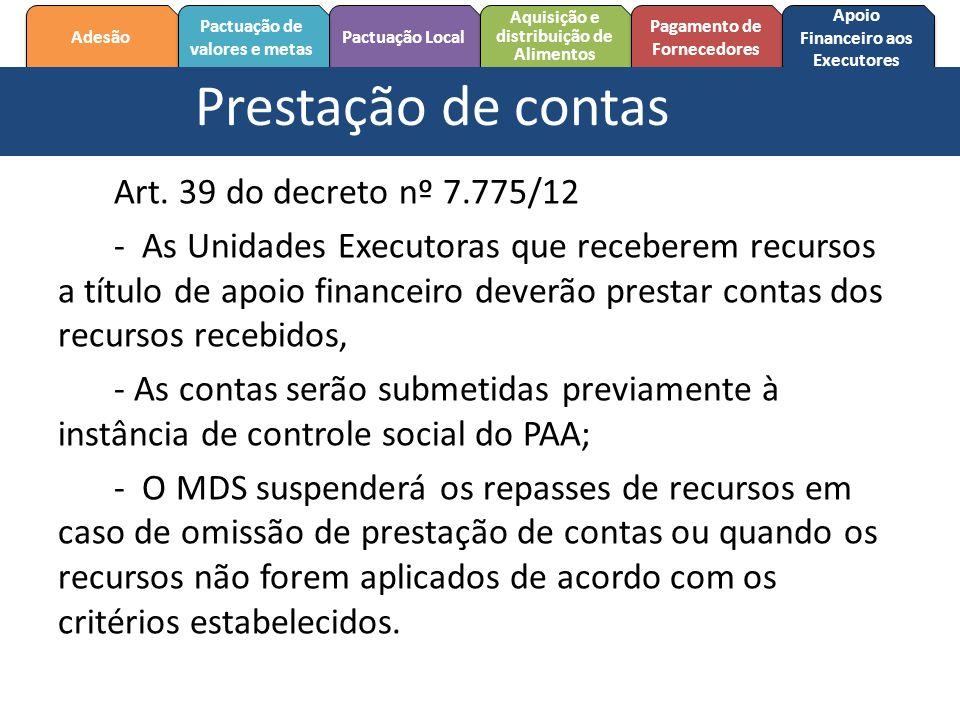 Prestação de contas Art. 39 do decreto nº 7.775/12
