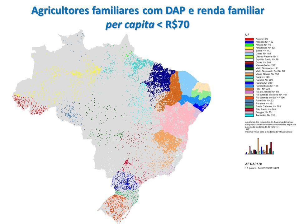 Agricultores familiares com DAP e renda familiar