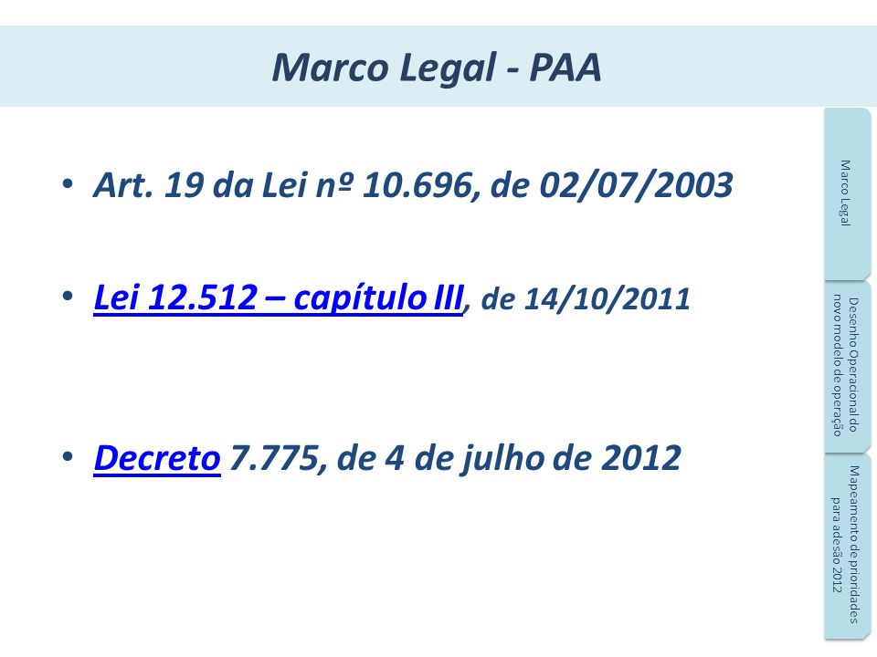 Marco Legal - PAA Art. 19 da Lei nº 10.696, de 02/07/2003