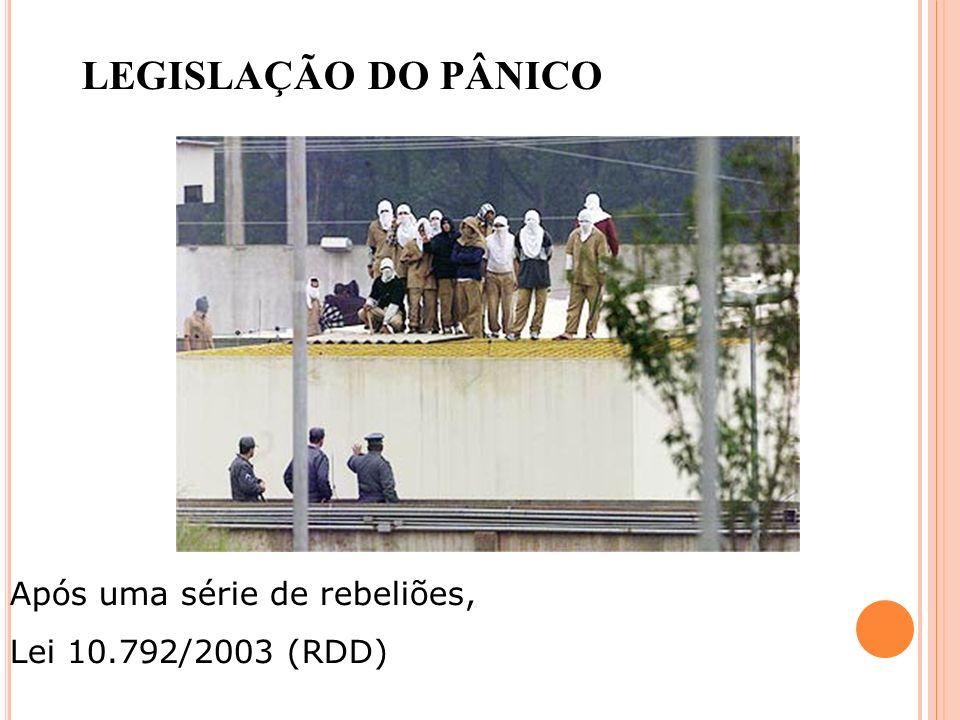 LEGISLAÇÃO DO PÂNICO Após uma série de rebeliões,