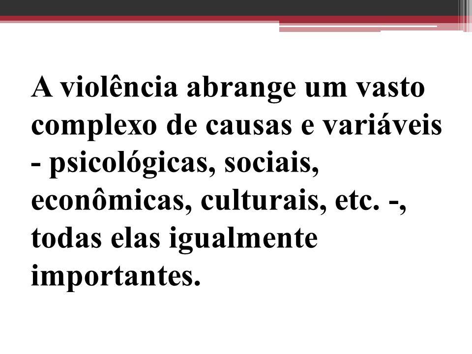 A violência abrange um vasto complexo de causas e variáveis - psicológicas, sociais, econômicas, culturais, etc.