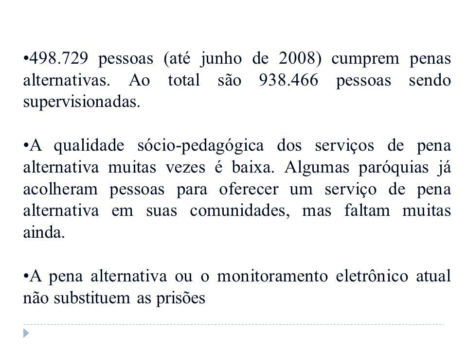498. 729 pessoas (até junho de 2008) cumprem penas alternativas
