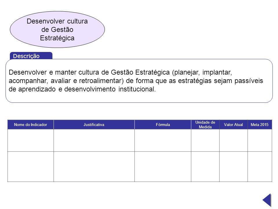 Desenvolver cultura de Gestão Estratégica