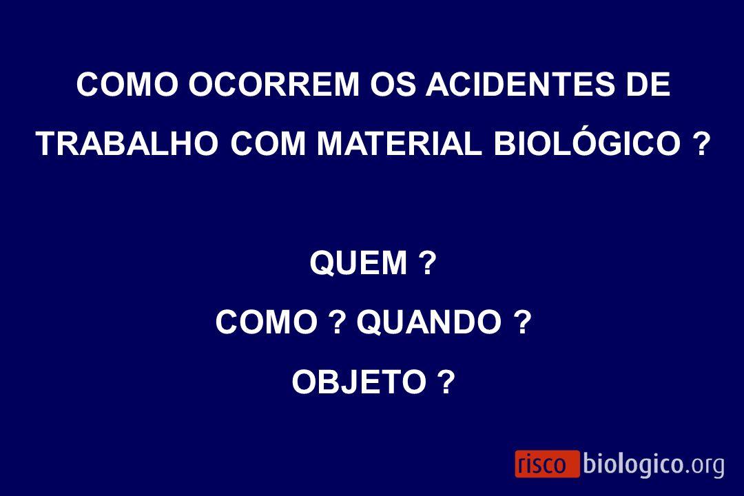 COMO OCORREM OS ACIDENTES DE TRABALHO COM MATERIAL BIOLÓGICO