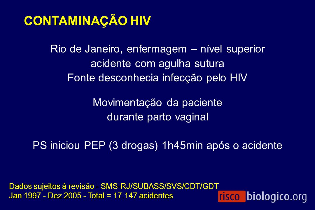 CONTAMINAÇÃO HIV Rio de Janeiro, enfermagem – nível superior