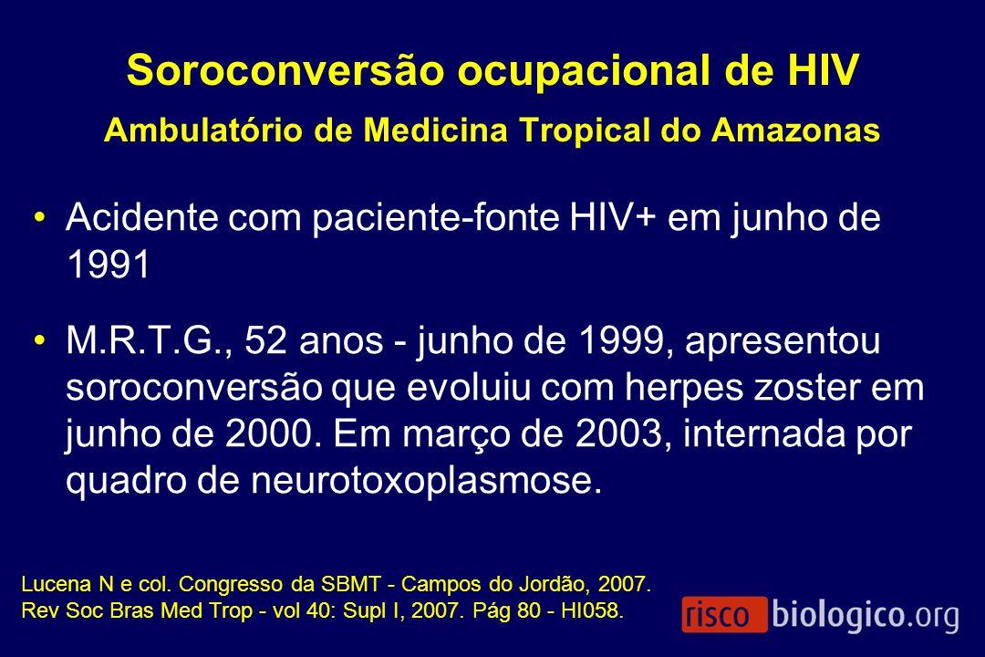 Soroconversão ocupacional de HIV Ambulatório de Medicina Tropical do Amazonas