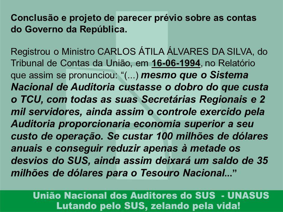 Conclusão e projeto de parecer prévio sobre as contas do Governo da República.