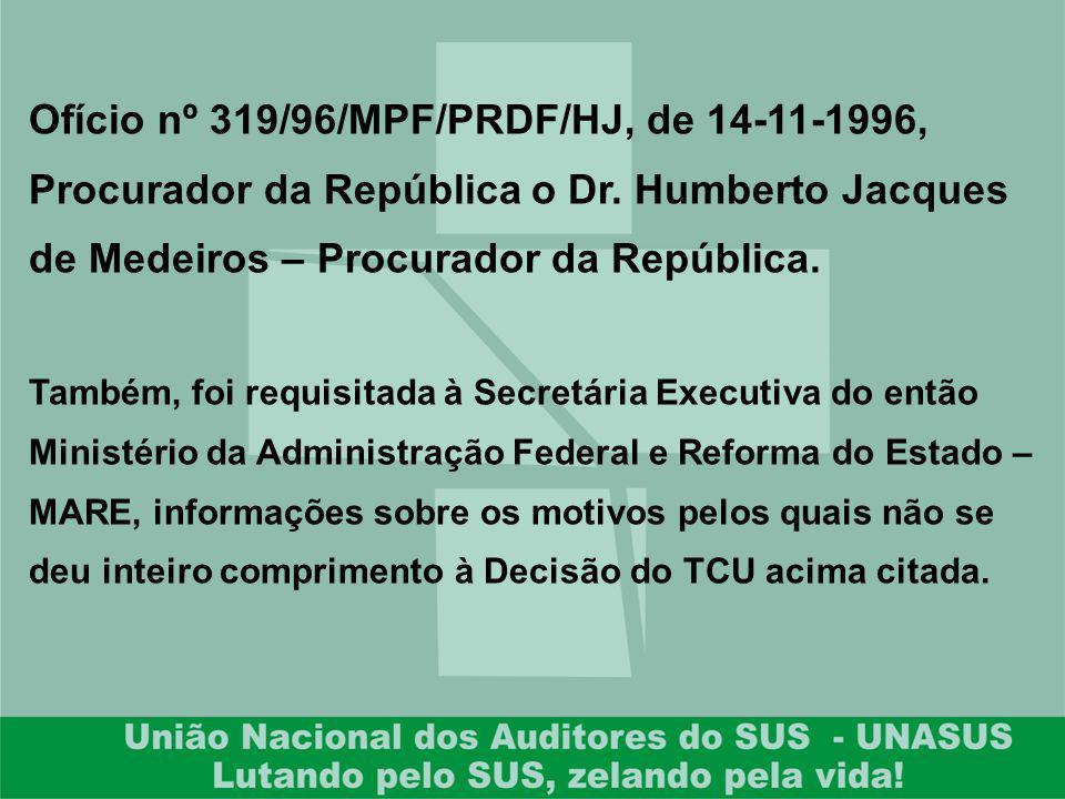 Ofício nº 319/96/MPF/PRDF/HJ, de 14-11-1996, Procurador da República o Dr. Humberto Jacques de Medeiros – Procurador da República.