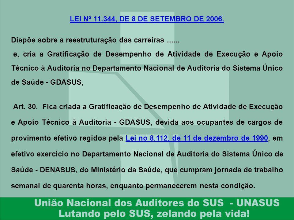 LEI Nº 11.344, DE 8 DE SETEMBRO DE 2006. Dispõe sobre a reestruturação das carreiras ......