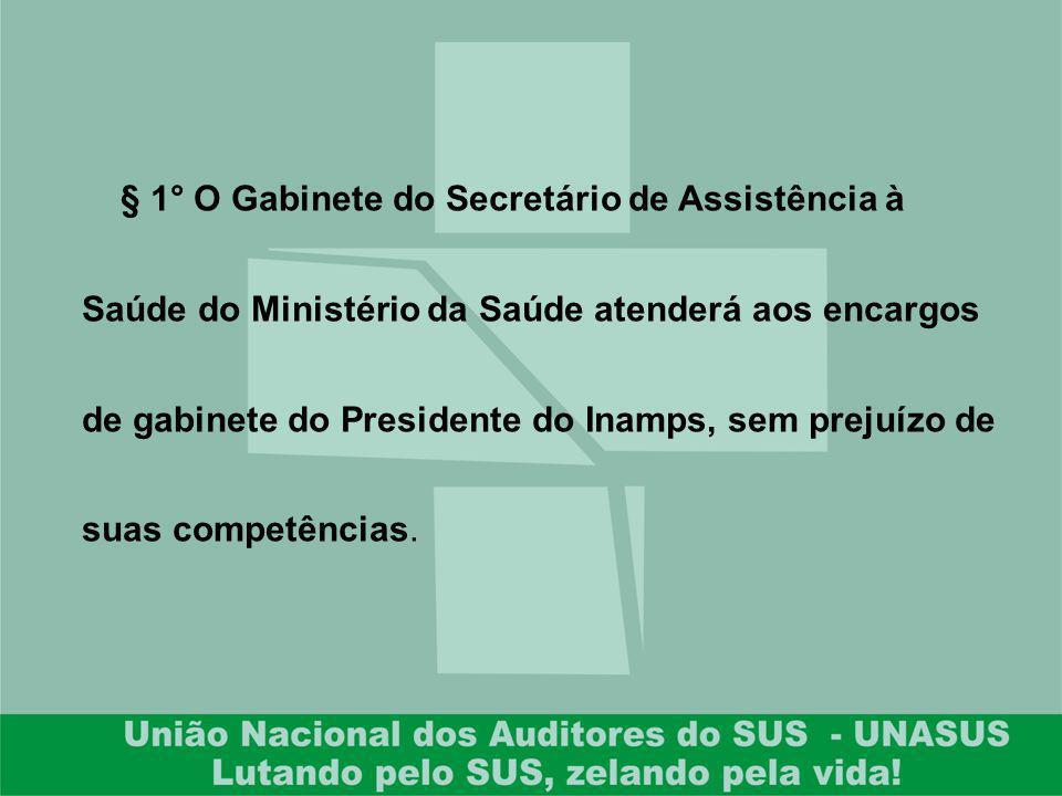§ 1° O Gabinete do Secretário de Assistência à Saúde do Ministério da Saúde atenderá aos encargos de gabinete do Presidente do Inamps, sem prejuízo de suas competências.
