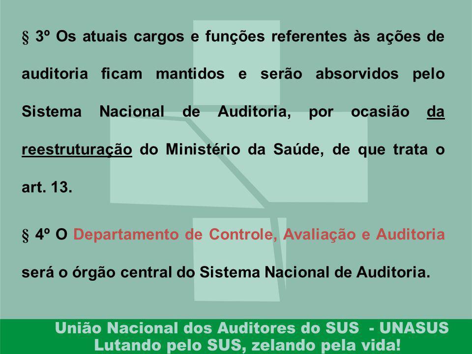 § 3º Os atuais cargos e funções referentes às ações de auditoria ficam mantidos e serão absorvidos pelo Sistema Nacional de Auditoria, por ocasião da reestruturação do Ministério da Saúde, de que trata o art. 13.