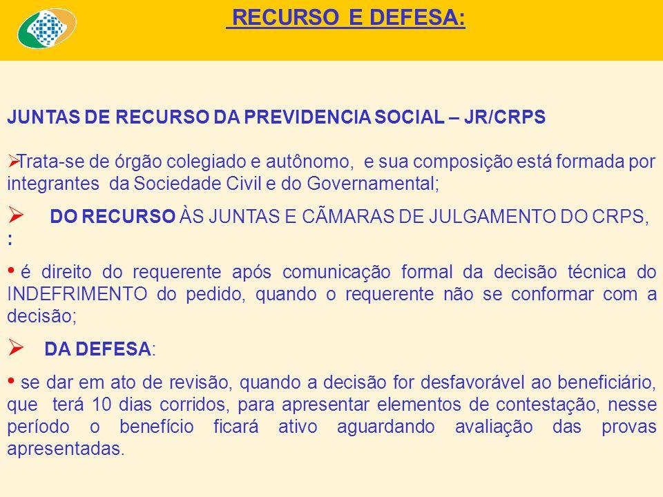 RECURSO E DEFESA: JUNTAS DE RECURSO DA PREVIDENCIA SOCIAL – JR/CRPS