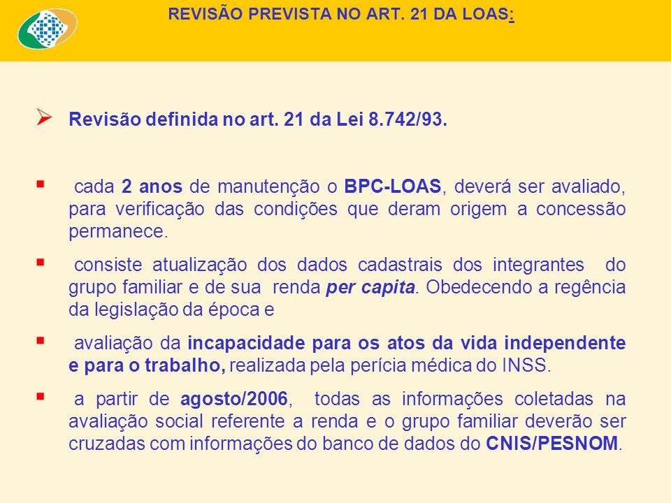 REVISÃO PREVISTA NO ART. 21 DA LOAS: