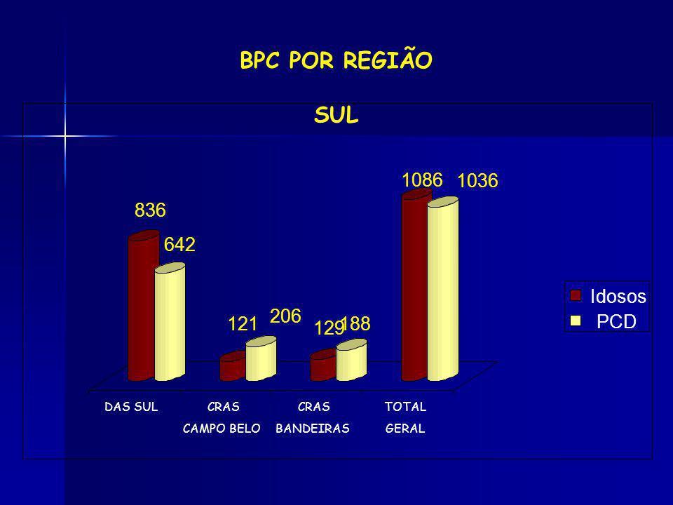 BPC POR REGIÃO SUL 836 642 121 206 129 188 1086 PCD Idosos 1036