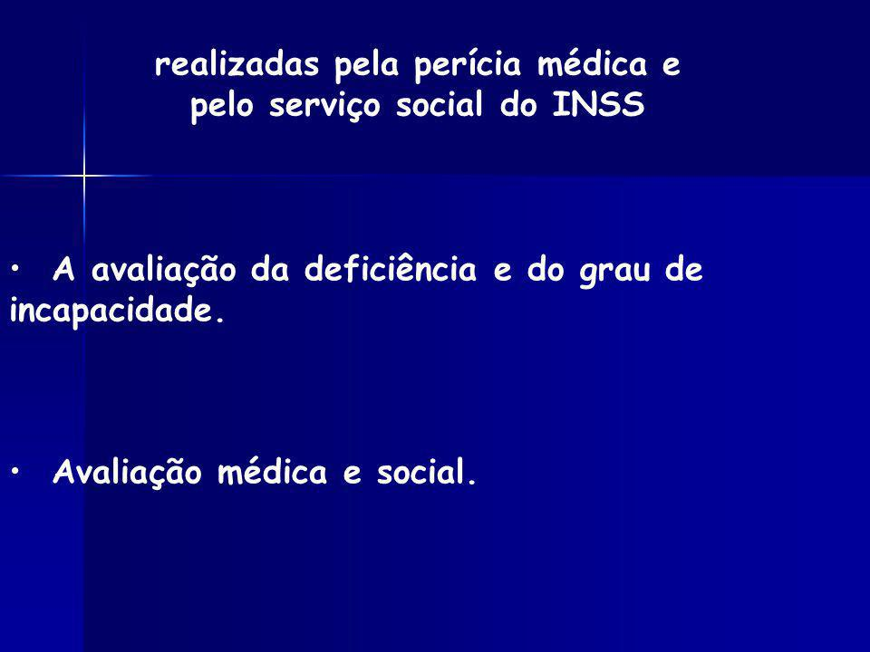 realizadas pela perícia médica e pelo serviço social do INSS