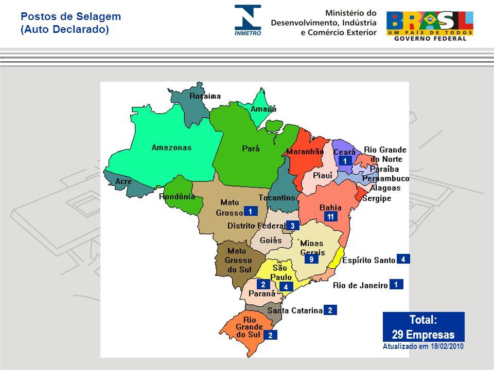 Total: 29 Empresas Postos de Selagem (Auto Declarado) 1 1 11 3 9 4 2 4