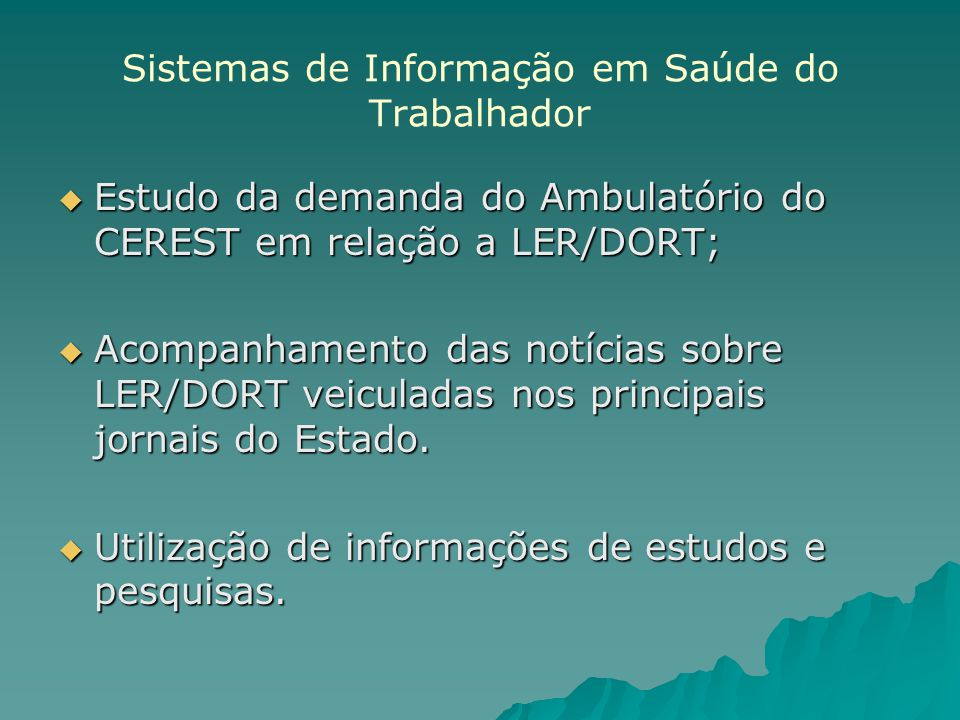 Sistemas de Informação em Saúde do Trabalhador