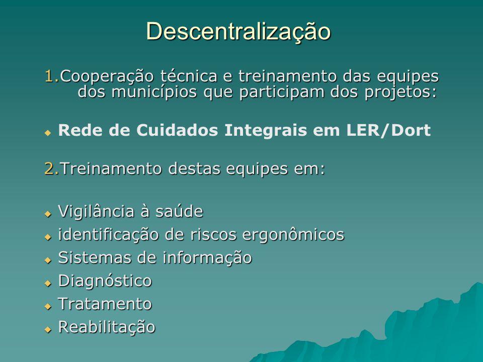 Descentralização Cooperação técnica e treinamento das equipes dos municípios que participam dos projetos: