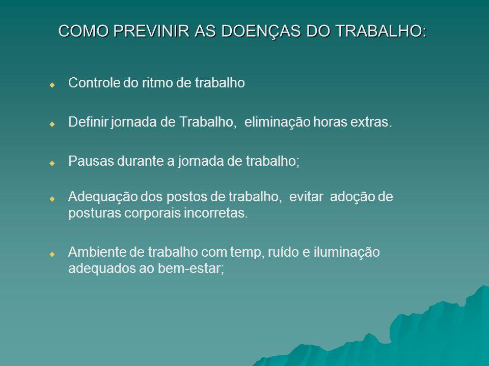 COMO PREVINIR AS DOENÇAS DO TRABALHO: