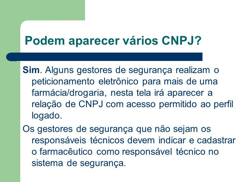 Podem aparecer vários CNPJ