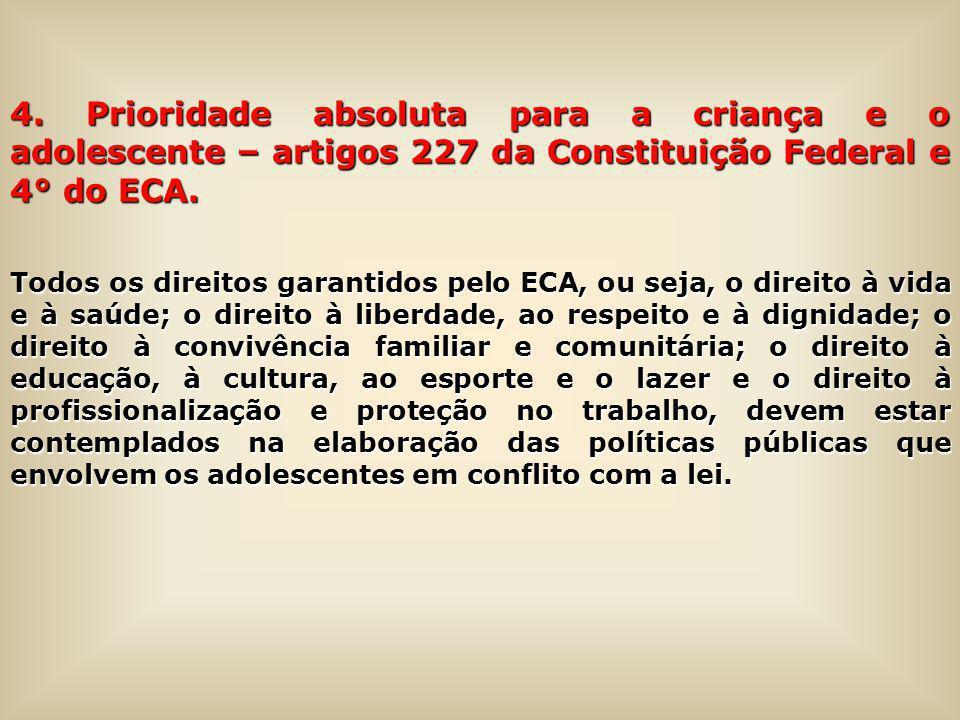 4. Prioridade absoluta para a criança e o adolescente – artigos 227 da Constituição Federal e 4° do ECA.