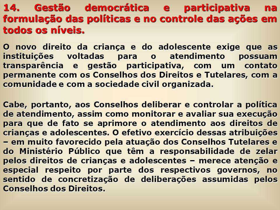 14. Gestão democrática e participativa na formulação das políticas e no controle das ações em todos os níveis.