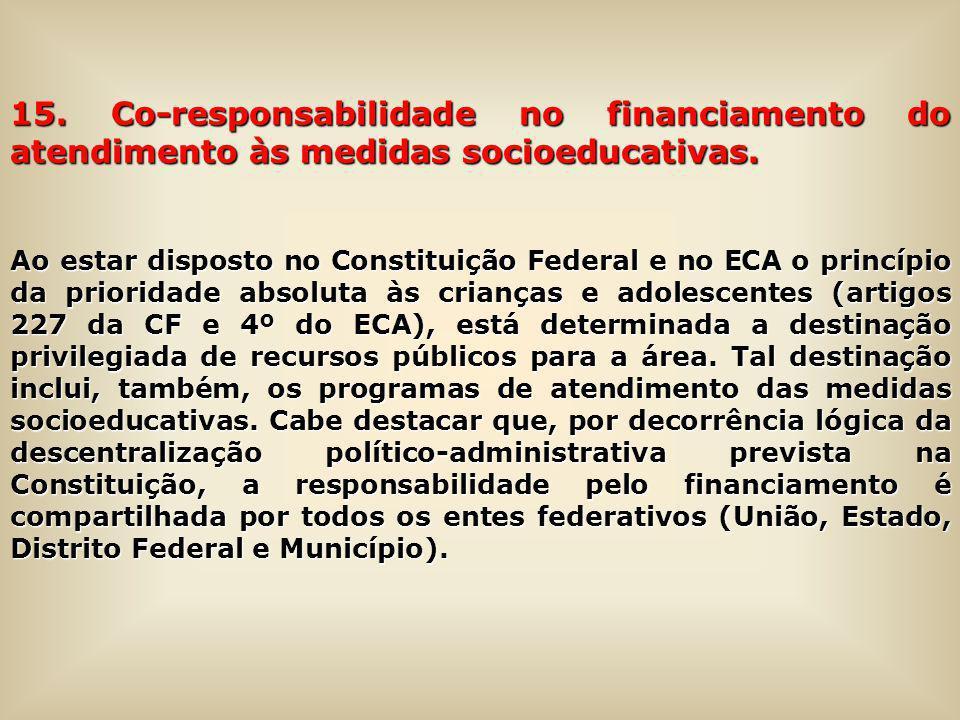 15. Co-responsabilidade no financiamento do atendimento às medidas socioeducativas.