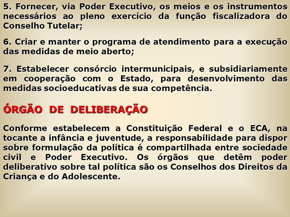 5. Fornecer, via Poder Executivo, os meios e os instrumentos necessários ao pleno exercício da função fiscalizadora do Conselho Tutelar;