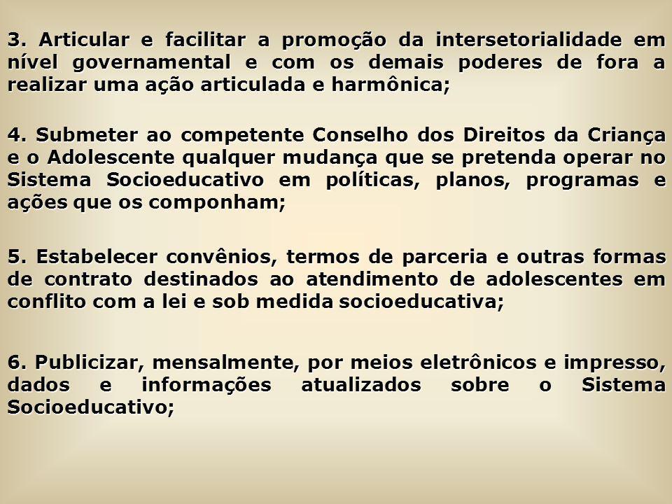 3. Articular e facilitar a promoção da intersetorialidade em nível governamental e com os demais poderes de fora a realizar uma ação articulada e harmônica;