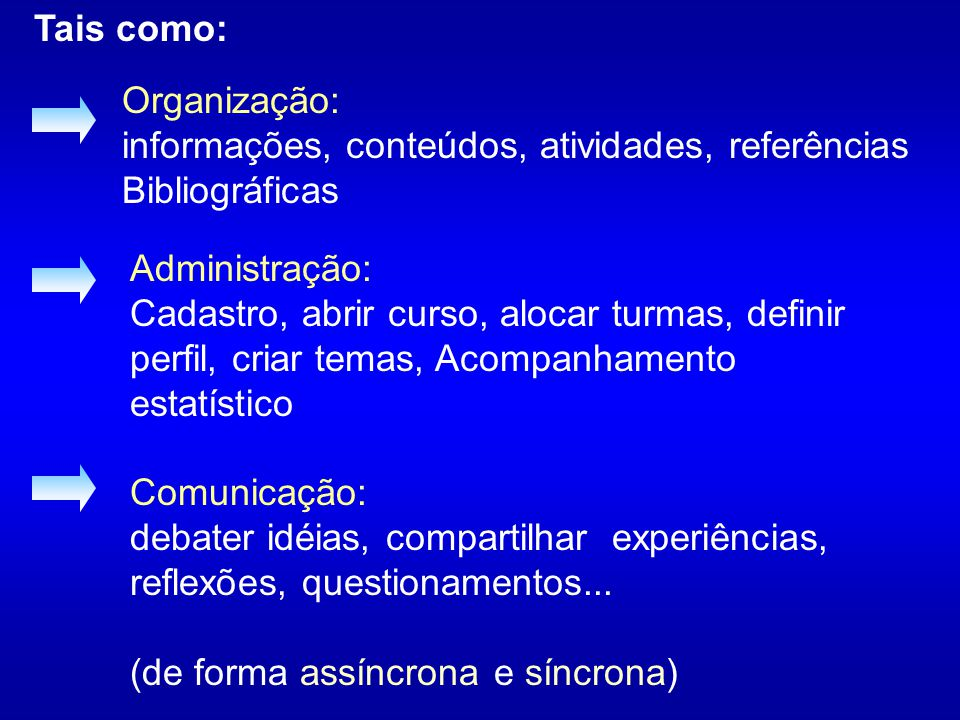 Tais como: Organização: informações, conteúdos, atividades, referências Bibliográficas. Administração: