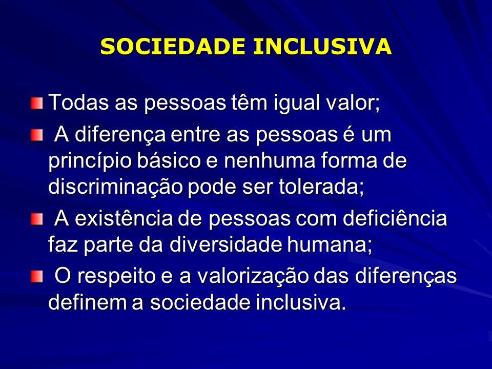 SOCIEDADE INCLUSIVA Todas as pessoas têm igual valor;