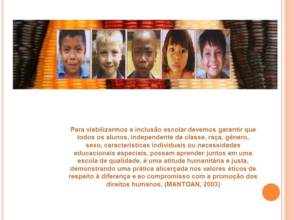 Para viabilizarmos a inclusão escolar devemos garantir que