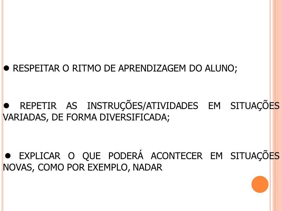  RESPEITAR O RITMO DE APRENDIZAGEM DO ALUNO;