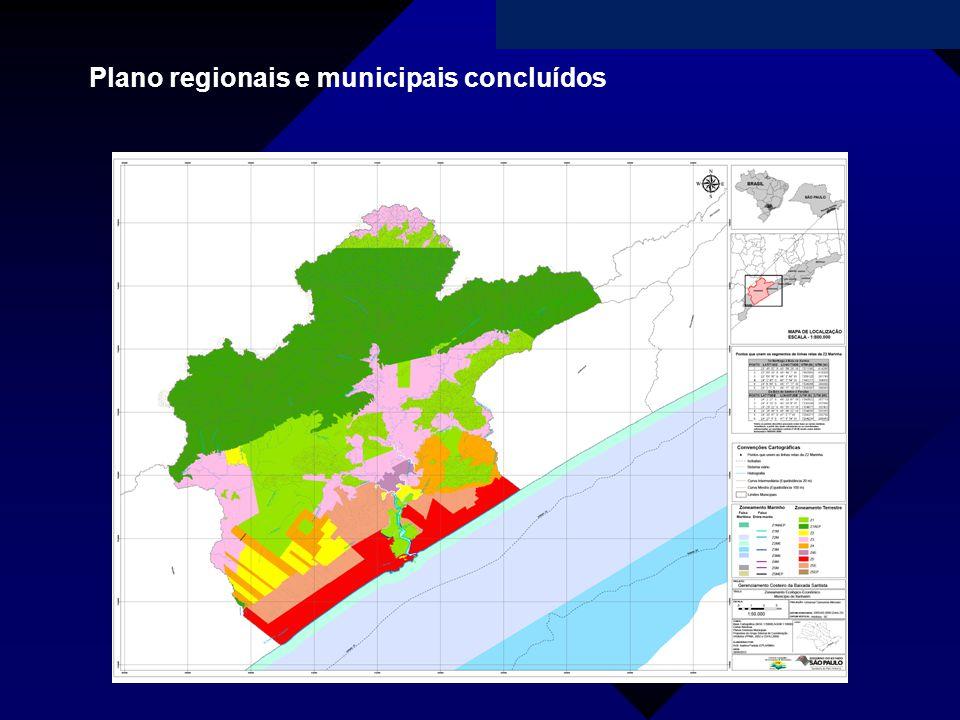 Plano regionais e municipais concluídos