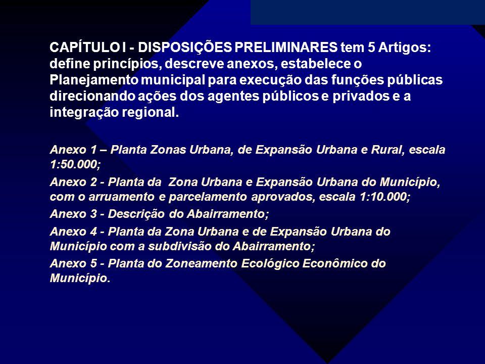 CAPÍTULO I - DISPOSIÇÕES PRELIMINARES tem 5 Artigos: define princípios, descreve anexos, estabelece o Planejamento municipal para execução das funções públicas direcionando ações dos agentes públicos e privados e a integração regional.