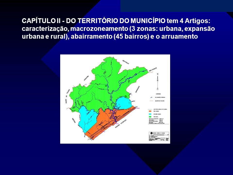 CAPÍTULO II - DO TERRITÓRIO DO MUNICÍPIO tem 4 Artigos: caracterização, macrozoneamento (3 zonas: urbana, expansão urbana e rural), abairramento (45 bairros) e o arruamento