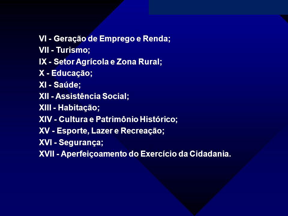 VI - Geração de Emprego e Renda;