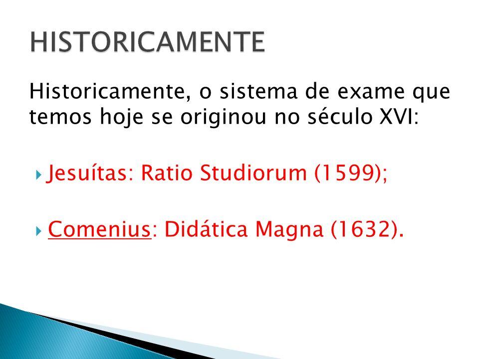 HISTORICAMENTE Historicamente, o sistema de exame que temos hoje se originou no século XVI: Jesuítas: Ratio Studiorum (1599);