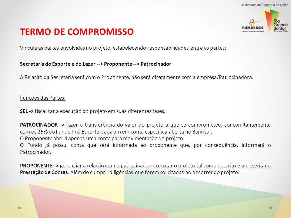 TERMO DE COMPROMISSO Vincula as partes envolvidas no projeto, estabelecendo responsabilidades entre as partes: