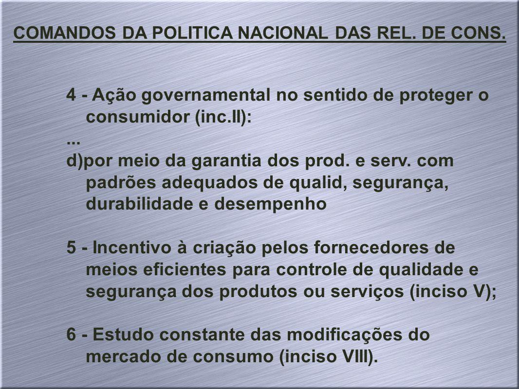 COMANDOS DA POLITICA NACIONAL DAS REL. DE CONS.