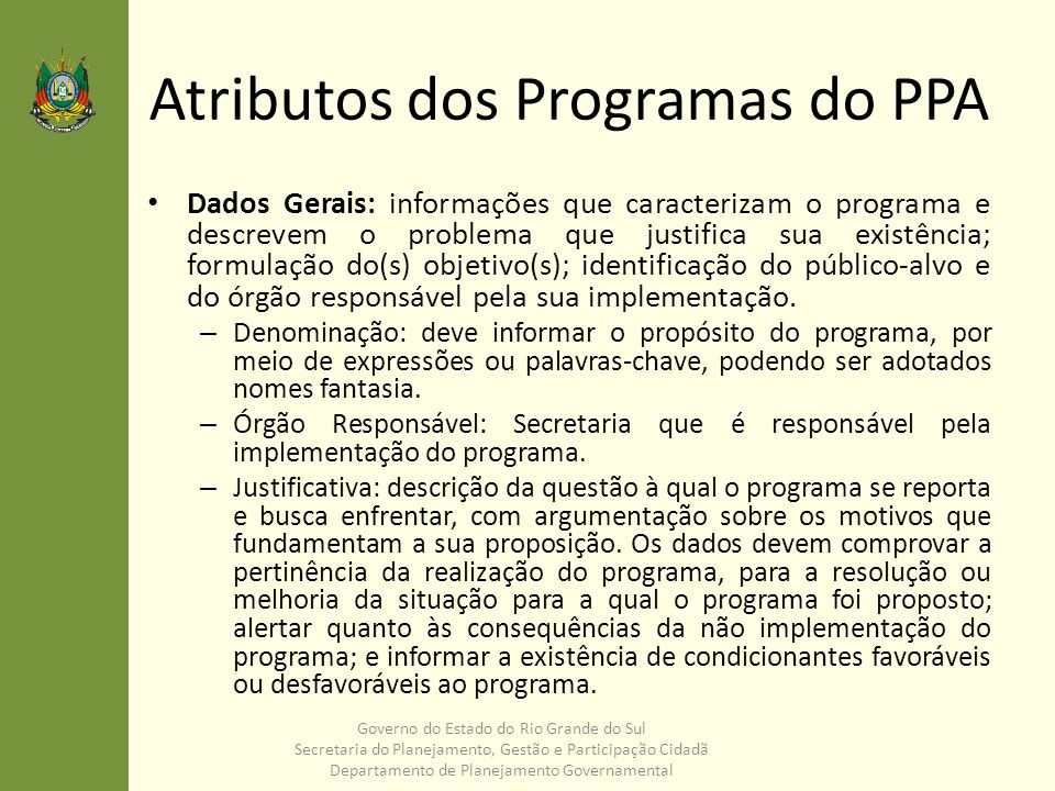 Atributos dos Programas do PPA