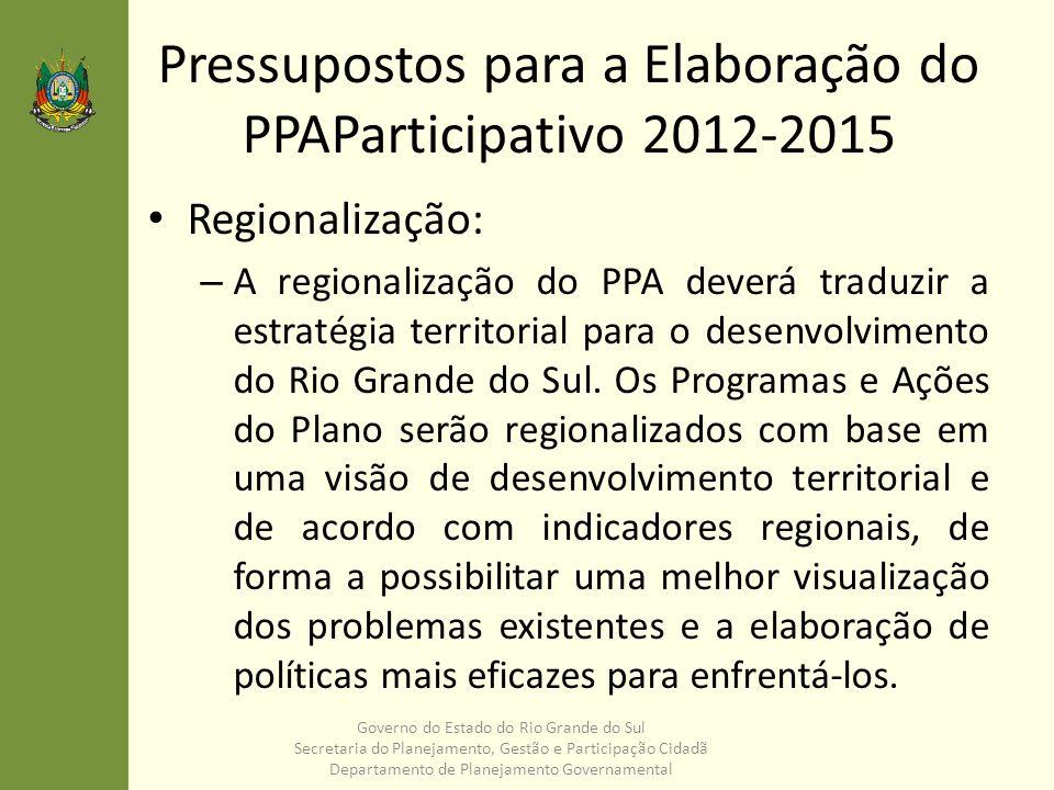 Pressupostos para a Elaboração do PPAParticipativo 2012-2015