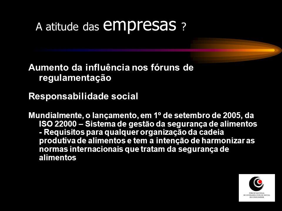 A atitude das empresas Aumento da influência nos fóruns de regulamentação. Responsabilidade social.