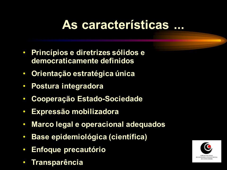 As características ... Princípios e diretrizes sólidos e democraticamente definidos. Orientação estratégica única.