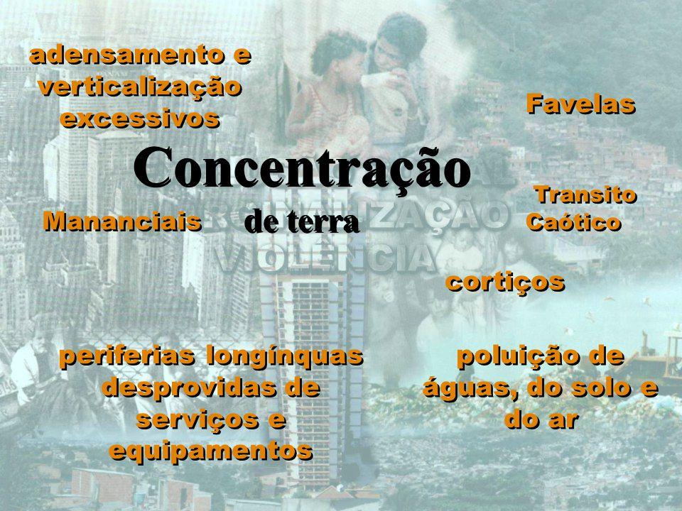 Concentração de terra adensamento e verticalização excessivos Favelas